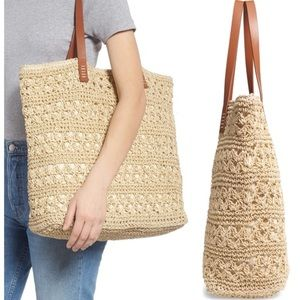Nordstrom Packable Woven Raffia Tote NWT
